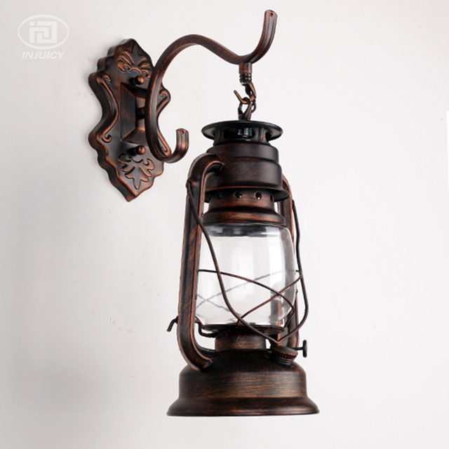 Vintage Retro Lantern Lamp Iron Barn Kerosene Oil Wall Light Industrial  Beside Hallway Bathroom Outdoor Waterproof