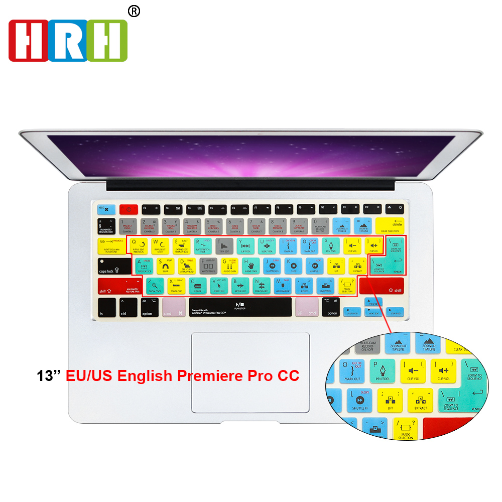 HRH Waterproof Adobe Premiere Pro CC Shortcuts Silicone Keyboard Skin Cover For Macbook Pro Air Retina 13 15 17 A1278 Both EU/US hrh fashion ableton live shortcut hotkey silicone keyboard cover skin protector for mabook air pro retina 13 15 17 both eu us