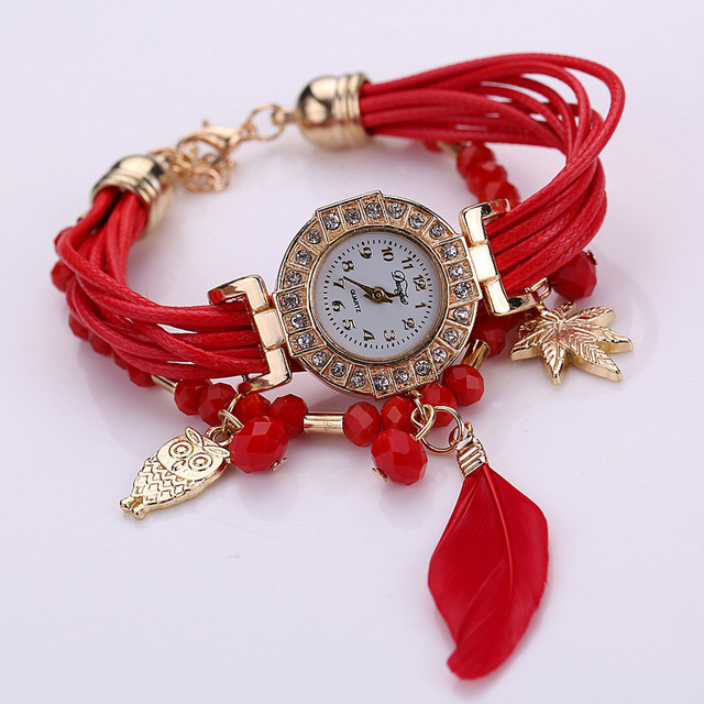 Feather Weave Wrap Around Bracelet Watch  Crystal Synthetic Fashion Chain Watch 372510