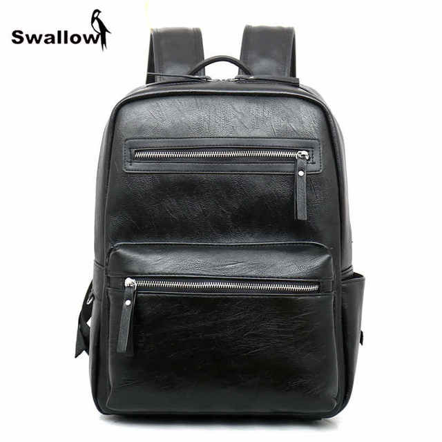 e0387d5f89ec Fashion Waterproof Leather Backpack Men Double Zipper Korean Collage  Leather School Bags For Teenage Boy Mochila Masculina Couro