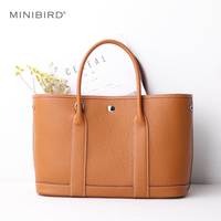Leather Bag Women Genuine Leather Garden Party Bag Female Handbag Lady Simple Casual Totes Shopping Bag with Removable Pouch New