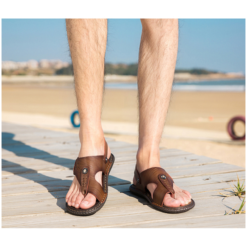 CYYTL Men Sandals 2019 Summer Shoes Leather Flip Flops Slippers Outdoor Beach Casual Male Water Sneakers Roman Sandalias Hombre