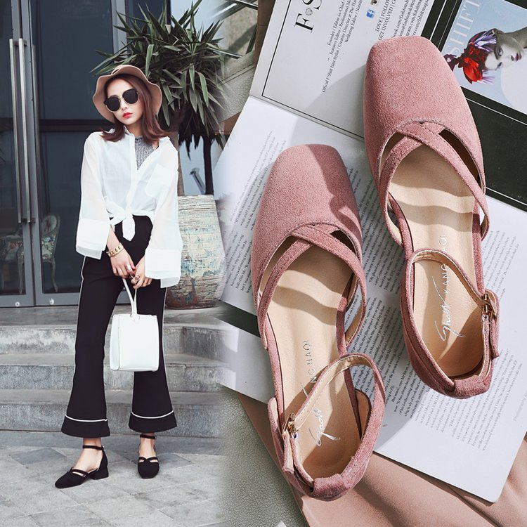 EOEODOIT Fashion Spring Square Toe Low Heels Shoes Women Casual Buckle Square Heel Sweet Ankle Buckle Marry Jean Shoes 3 Cm
