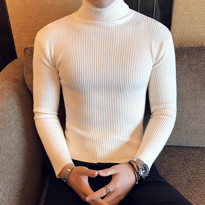 Зимний толстый теплый мужской свитер с высоким воротником, Брендовые мужские свитера с высоким воротником, облегающий пуловер, Мужская трикотажная одежда с двойным воротником - Цвет: 7206 Beige