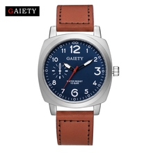 Gaiety Brand Fashion Watch Square Leather Men Male Wristwatch Casual Sport Silver Vintage Quartz Watch G454