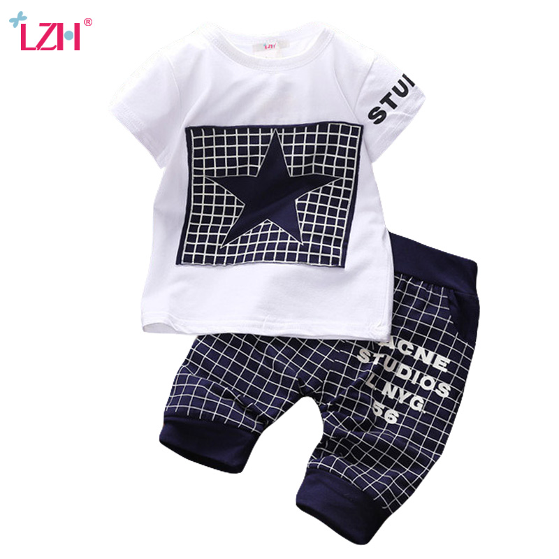 LZH Children Clothes 2018 Summer Baby Boys Clothes Short Sleeve T-Shirt+Pants Kids Tracksuit Sport Suit For Boys Clothing Sets summer kids clothes set boys girls cartoon clothing sets children short sleeve t shirt striped pants sport suits 2 8 years cf412