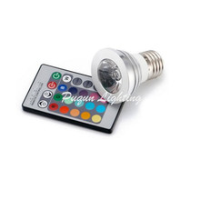 HK PAM Free shipping  Wholesale - 1set 3W E27 RGB LED Light Lamp RGB Spot Light 110V-220V IR Remote Contorll