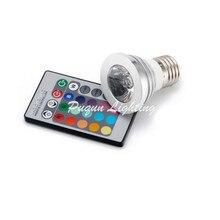 HK PAM Free shipping  Wholesale - 1set 3W E27 RGB LED Light Lamp RGB Spot Light 110V-220V IR Remote Contorll