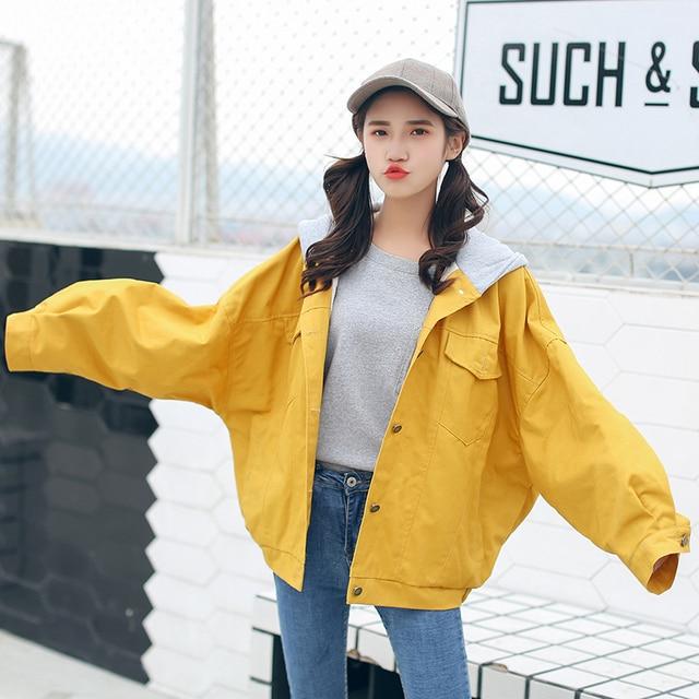 c6eeec9b26d 2018 fall women baggy denim outwear coat boyfriend style batwing sleeve  hooded loose oversize jeans jacket in yellow orange