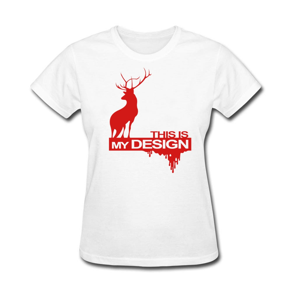 Design t shirt sell - Woman 80s This Is My Design Hannibal Tshirts Website Girl Natural T Shirt Deer Classic Collar Costumes Hot Selling