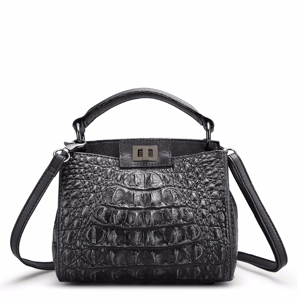 Women's genuine leather tote bags Alligator genuine cow leather bags peekpoo design bags genuine leather