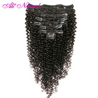 Ali Natural Mongolian Kinky Curly Clip In Human Hair Extensions 10 Pcs/Set Clips In 4B 4C Pattern Machine Made Non Remy Hair