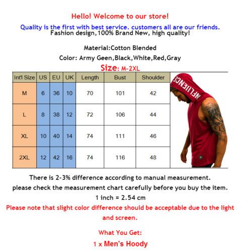 Men Hoodies T-shirt Sleeveless Muscle Sweatshirt Gym Sport Slim Bodybuilding  Tank Tops Hoodie Hip Hop Streetwear Men's Clothing
