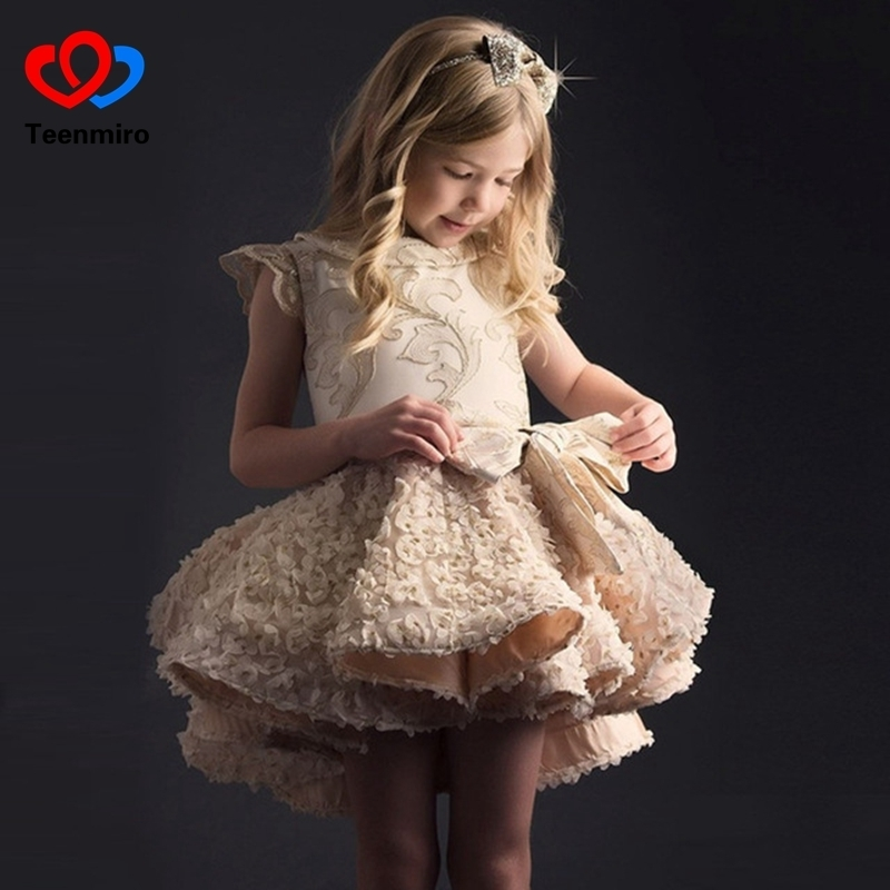 New Flower Girl Gown High Low Communion Dresses for Girl Formal Kids Prom Pageant Dress Elegant Tunic Robe Fille Children Clothe цена 2017