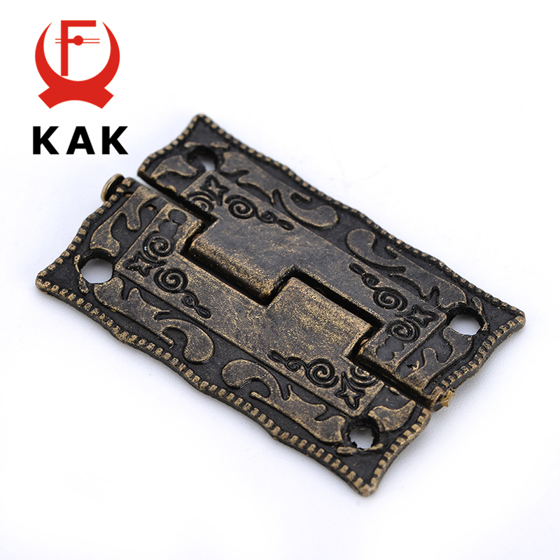 2PCS KAK Antique Bronze Hinges Cabinet Door Drawer Decorative Mini Hinge For Jewelry Storage Wooden Box Furniture Hardware 10pcs cabinet door butt hinges mini drawer bronze decorative mini hinges diy accessories small wooden box decoration
