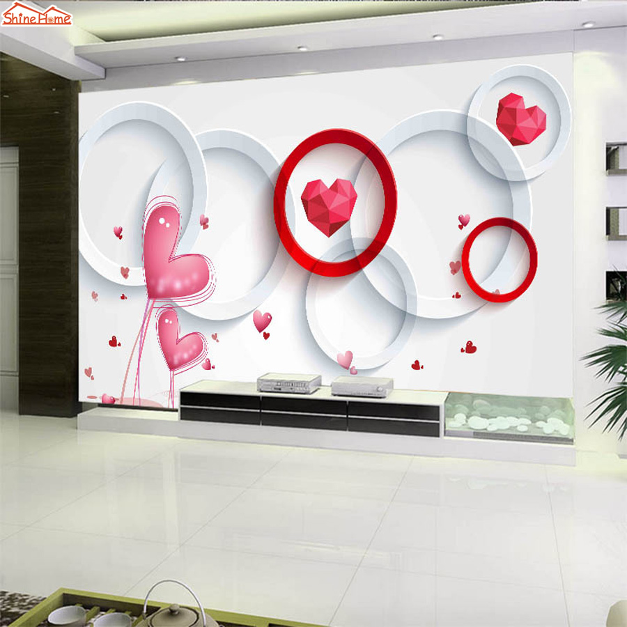 ShineHome-3d Love Red Heart Floral Livingroom Background Photo Wallpaper for 3 d Murals Walls Roll Wall Paper Rolls Bedroom Art shinehome nature banana leaf wallpaper 3d photo wallpaper rolls for walls 3 d livingroom wallpapers mural roll paper background