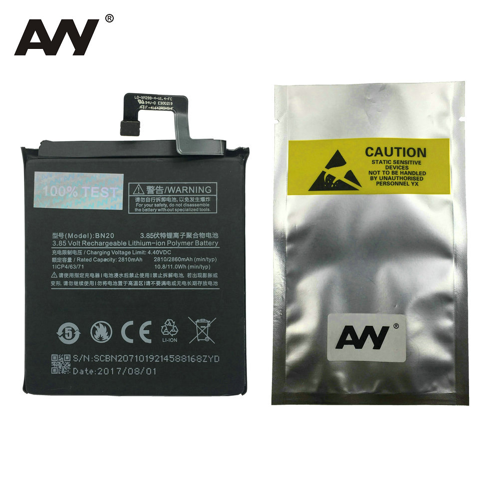 AVY 2017 New Battery BN20 For Xiaomi Mi 5C M5C  Mi5C Mobile Phone Rechargeable Lithium-ion polymer Batteries 2810mAh 2860mAh