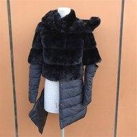 2017プラスサイズ冬毛皮コートレックスウサギの毛皮ロング毛皮ジャケット