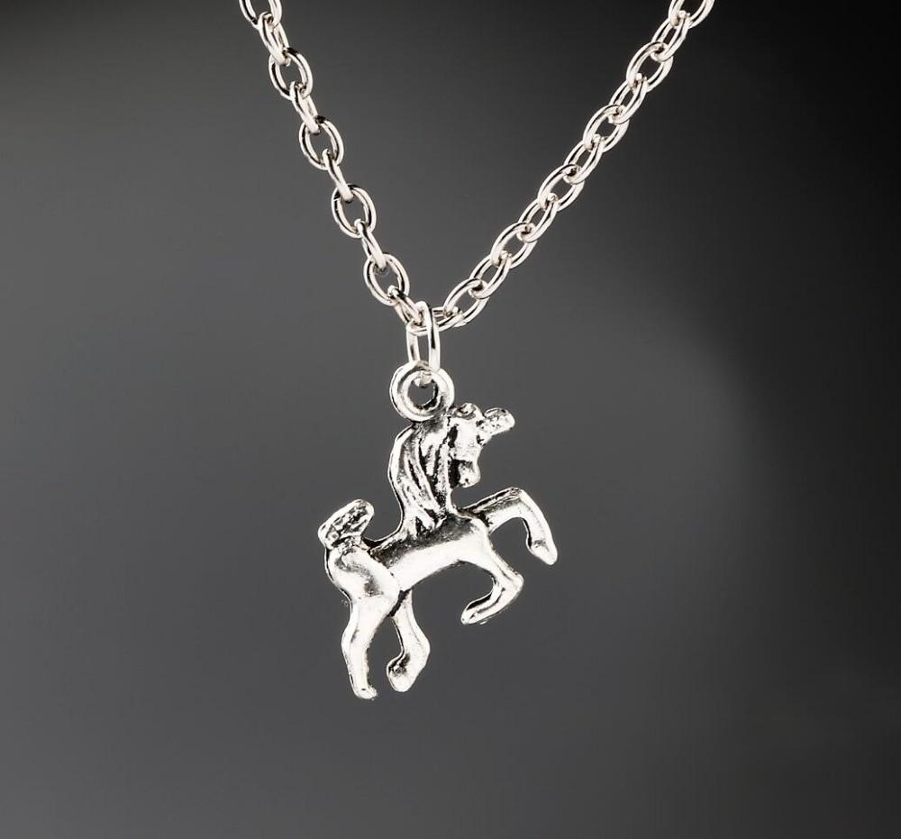 Unicorn Kuda Kalung Antik Paduan Perhiasan Perak Liontin 1 Set Pesona Hadiah Natal Baru Pcs