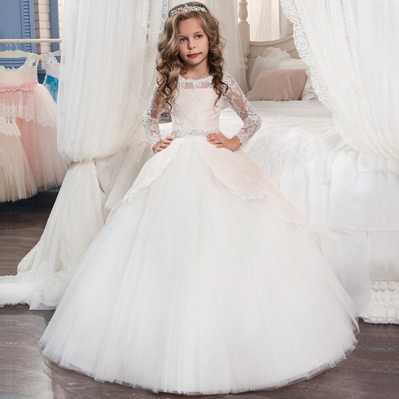 2018 Winter Long Sleeve Dress Girls Wedding Dress For Girls Kids Christmas Dress Costume Bridesmaid Party Princess 4 10 12 Years 2018 winter toddler party floral princess dress girls clothes wedding kids dresses for girls bridesmaid tutu dress 4 10 12 years