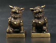 """31MM/1.2"""" Collect Curio Rare Chinese Fengshui Small Bronze Exquisite Animal Duad Lion Seal Signet Stamp Statue Statuary 69g"""