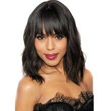 Deyngs Pixie גזור פאות סינתטי עם המפצים של נשים שחורות קצר גלים נשים שיער פאות חום עמיד חום שחור שחור צבע