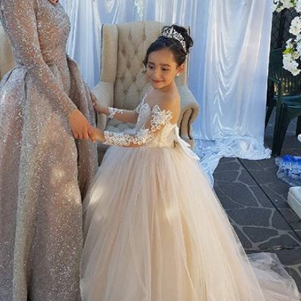 Bbonlinedress Ball Gown   Flower     Girl     Dress   With Bowknot Tulle Formal   Dresses   For Young   Girl   Party   Dress   Vestido de nina de flores