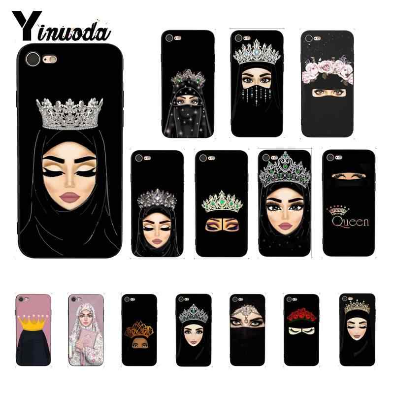 Yinuoda Oriental Woman In Face Queen Muslim Islamic Gril Eyes Design Phone Case for iPhone5 5Sx 6 7 7plus 8 8Plus X XS MAX XR 10