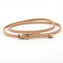 Hand-knit Long Leather Designer Braid Waist Belt With Gold Buckle Party Belts & Women Girls String Waistband Women Belt