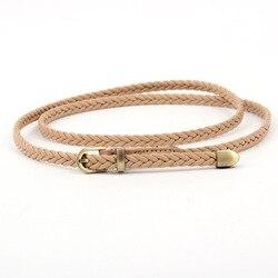 Cinturón largo de cuero tejido a mano con hebilla dorada, cinturones para fiesta y niñas