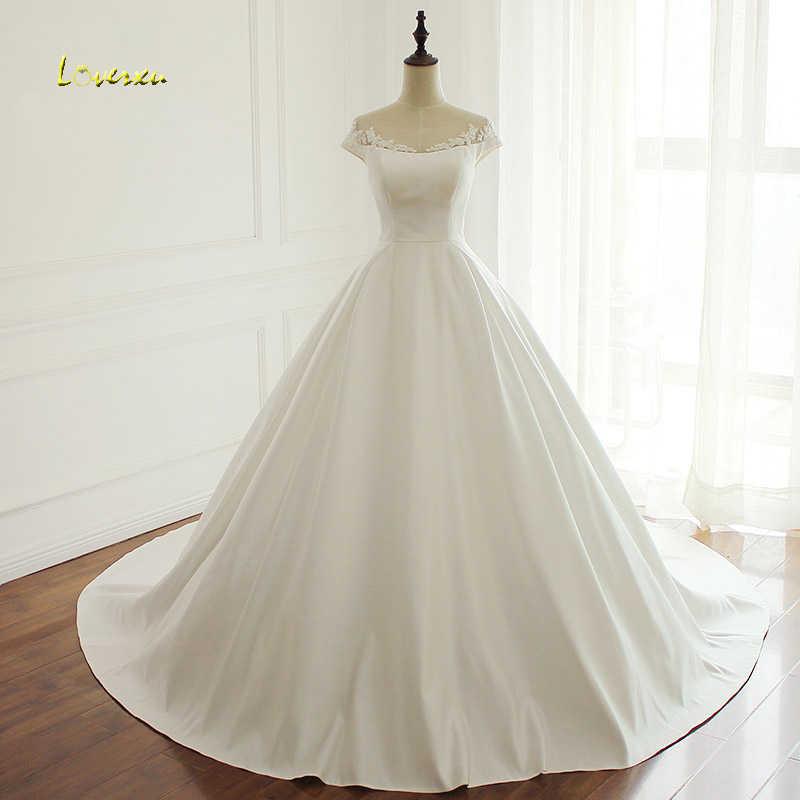 Loverxu Vestido De Noiva Scoop Neck A Line Wedding Dresses 2019 Sexy  Appliques Beaded Vintage Matte ef2eed25470b