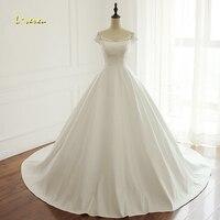 Loverxu Vestido De Noiva Scoop Neck A Line Wedding Dresses 2018 Sexy Appliques Beaded Vintage Matte Satin Bridal Gown Plus Size