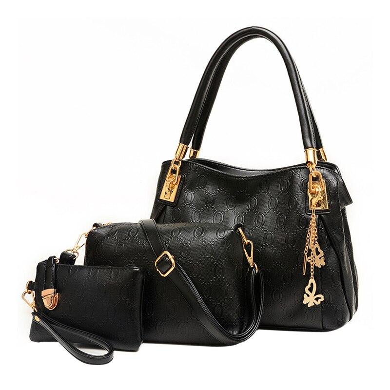 3 PCS Set Women Bag Crocodile Pattern PU Leather HandbagsComposite Bag  Women Messenger Bags Shoulder Handbag Purse Wallet 8777c713fa