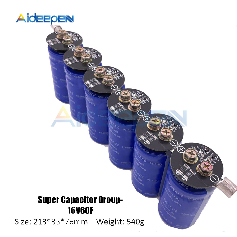 Super Farad Capacitors 6PCS/Set 16V 60F Super Capacitor With Protection Board Single Row 2.7V 360F Farad Capacitor For Car