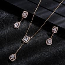 Trendy Wedding Necklace Earrings For Women Accessories Full Cubic Zirconia Bridal Jewelry Sets pendientes mujer moda D1308 недорого