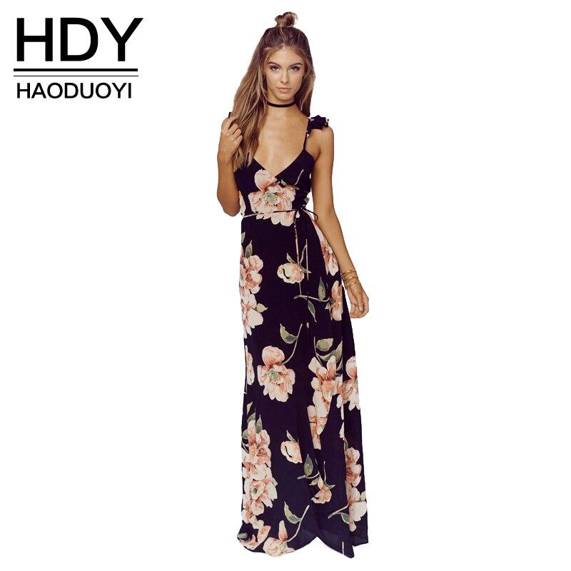 HDY Haoduoyi Fashion Floral Print Dress Women Backless Split Maxi Dress Deep V-neck Sexy Party Dress Casual Bohemian Dresses