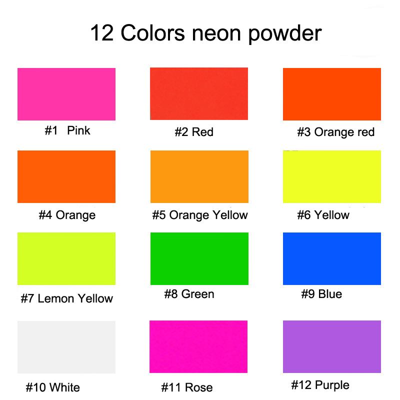 12 NEON Colors Fluorescent Phosphor Pigment Powder10gram Neon Mica Pigments for Nail Polish Painting Printing Cosmetics Polymer in Nail Glitter from Beauty Health