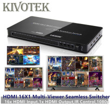 HDMI 16x1 Quad Multi-Viewer With Seamless Switcher 16 by 1 IR Hdmi Switch Adapter,Female Connector HD1080P for HDTV,Video Wall