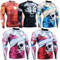 С длинным Рукавом Сжатия Tight Skin Рубашка для Мужчин Всего Тела 3D Печать Эластичный Rashguard ММА многофункциональный Футболки