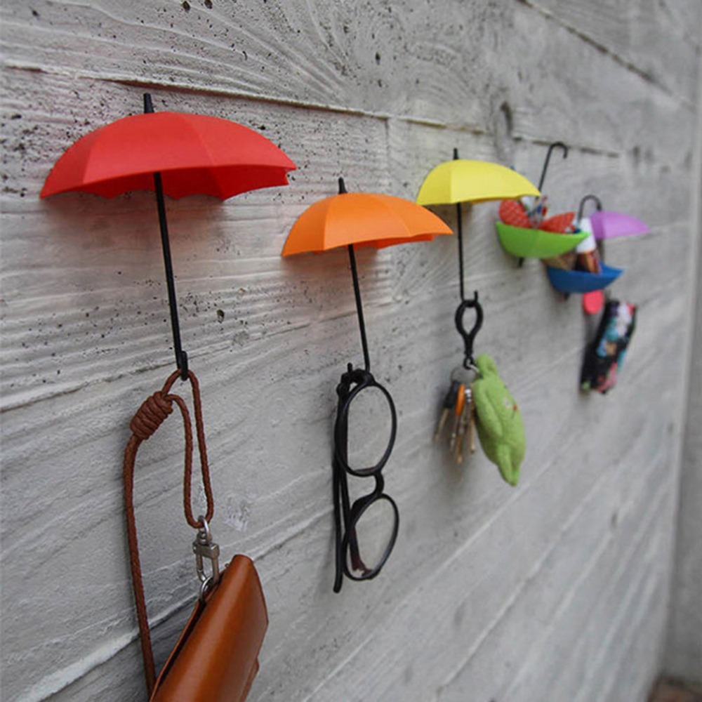 3Pcs/lot Umbrella Shape Clip Holders Cute Self Adhesive Wall Door Keys Clips School Office Sticky Holder Home Supplies