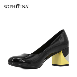 SOPHITINA Brand Lady Pump Handmade Patent Leather Thick Heel Round Toe Colorful heel Party Career Fashion Mature Shoes Women W09 4