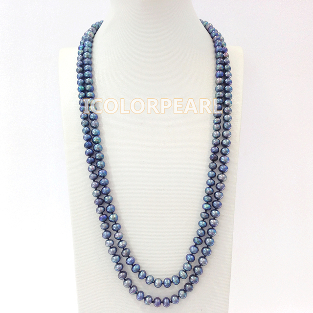 Classic 7-8mm Semiround Black /Grey Real Freshwater Pearl Sweater Jewelry Necklace.