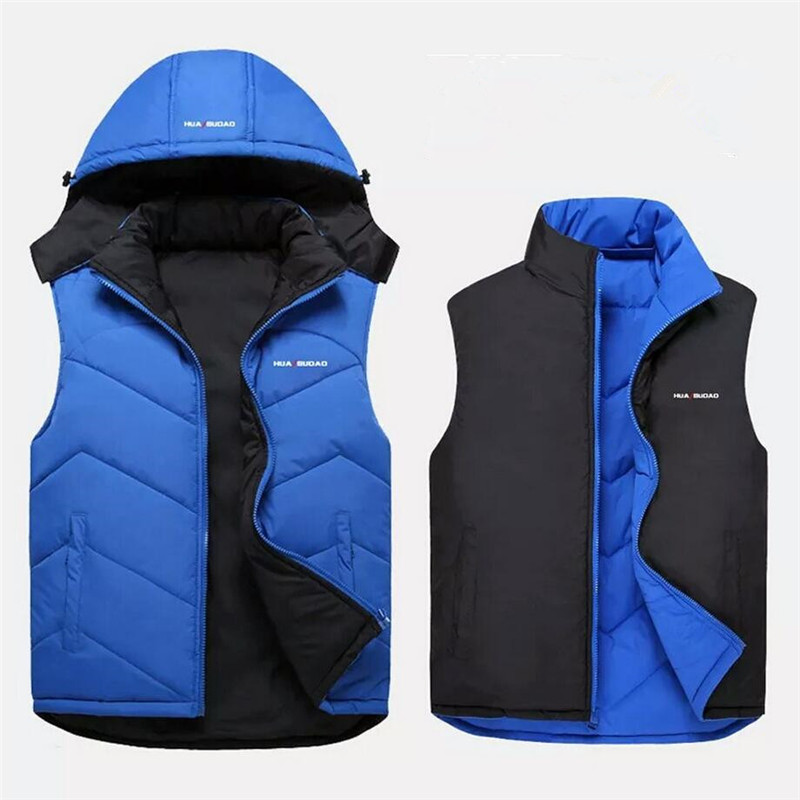 New Winter Warm Vest Men Sleeveless Jacket Double Side Hooded Coat Casual Male Cotton-Padded Jacket Men Vest Waistcoat Outwear winter jacket men warm coat mens casual hooded cotton jackets brand new handsome outwear padded parka plus size xxxl y1105 142f
