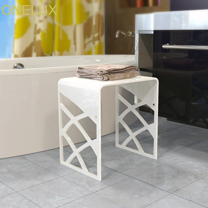 Elegant White Acrylic Shower Stool,Vanity Bathroom Stools,Waterfall Lucite Side U table -40W 30D 43H CM one lux plain and elegant clear transparent plexiglass acrylic bedside table with shelf 40w 30d 45h cm lucite nightstand