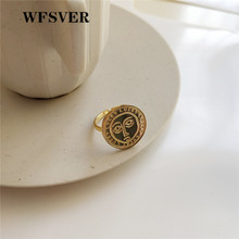 WFSVER new design korea style 925 sterling silver ring for women gold color face pattern opening adjustable fine jewelry