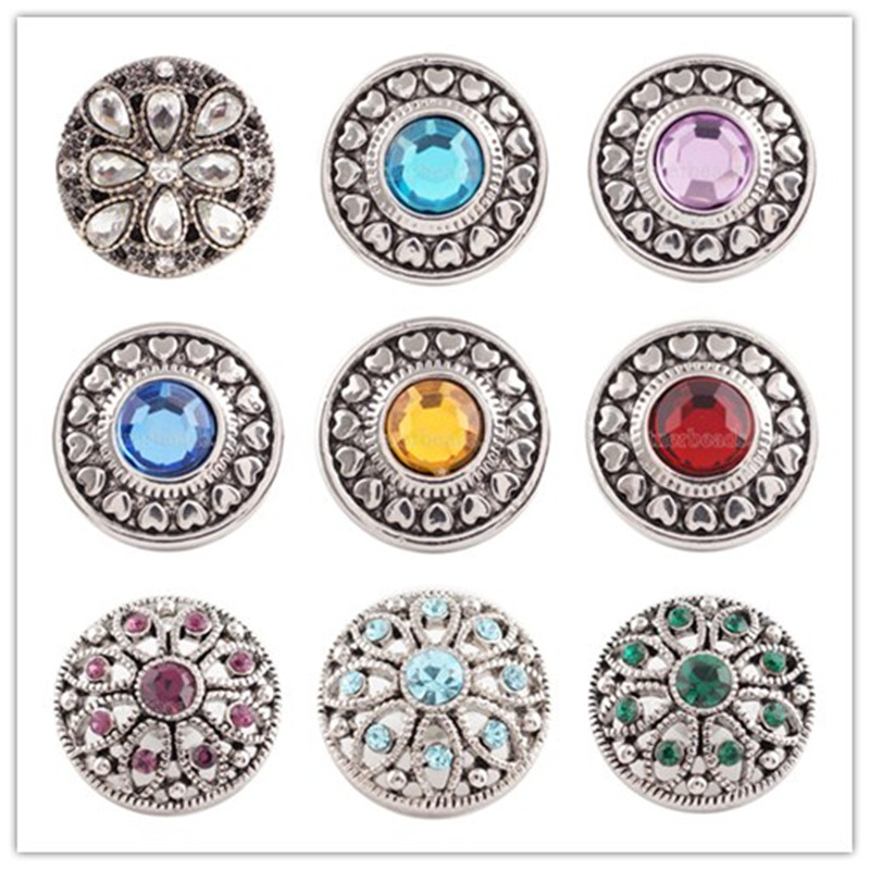Partnerbeads Handmade 18MM Rhinestone Snap Buttons snap jewelry For DIY Pendant High Quality Charm Jewelry Wholesale KC5030