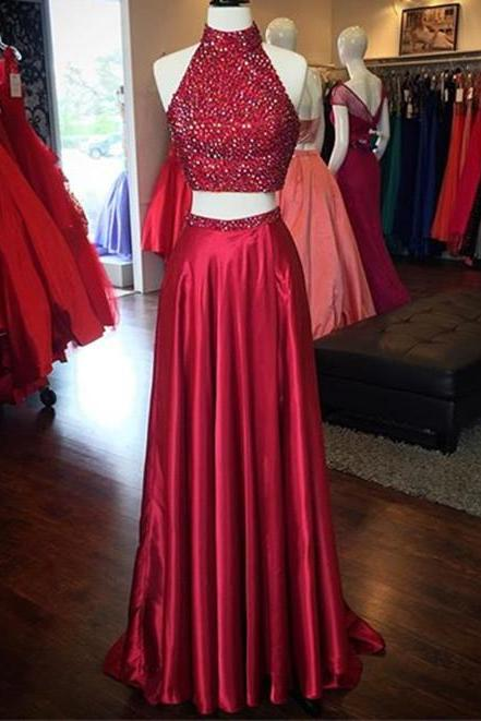 84f7187be02 Sparkly Beaded Crystals Long Dark Red Homecoming Dress 2018 Sexy Two Pieces  High neck A Line Satin Prom Dress with High Split -in Homecoming Dresses  from ...