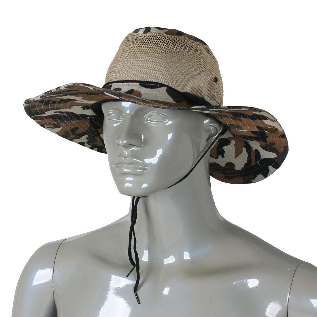2017 NEW Men Wide Full Brim Camouflage Mesh Design Fishing Hat Cap
