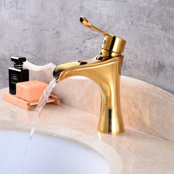 Bathroom Basin Faucet Gold/Black Oil Brushed Brass Hot and Cold Sink Mixer Tap Basin Faucet Bathroom Crane Waterfall Water Tap