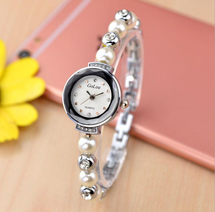 Роскошные Для женщин жемчужный браслет часы модные женские туфли платье наручные женские кварцевые Спорт розовое золото часы Dropshiping G-zz